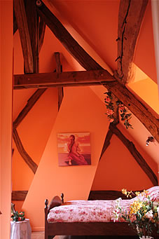 one of our rooms la chaleureuse from the charming bed & breakfast la gentilhommiere de normandie near to the garden and house of claude monet in giverny in eure (27) in upper-normandy in france